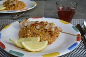 Rosé risotto met garnalenspies
